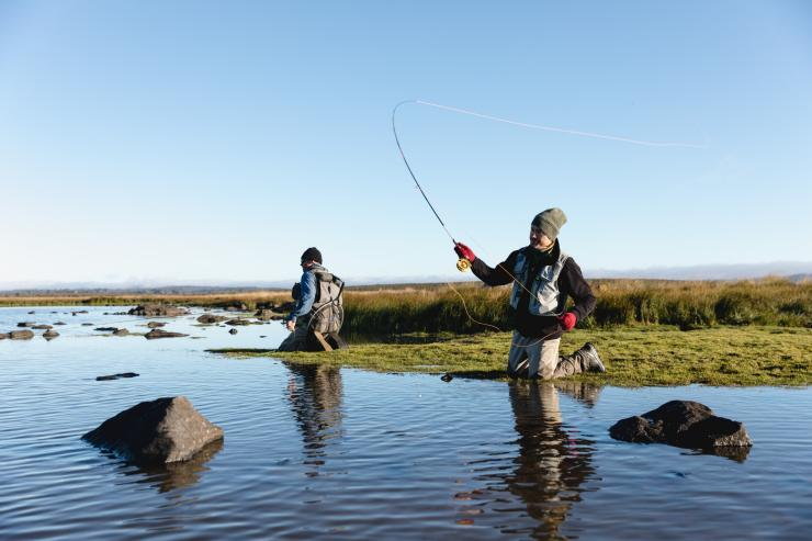 Fly fishing at Lake Burbury