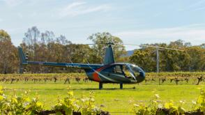 Helicopter in the vines, Best's West, Great Western, The Grampians, VIC