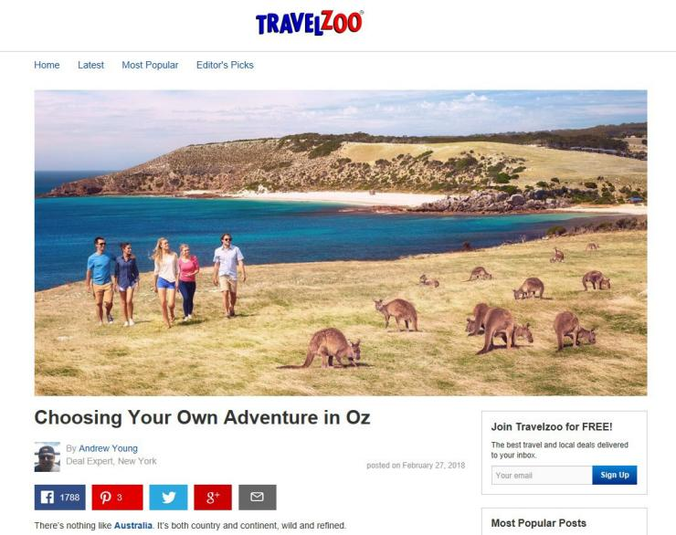 Australian adventures showcased on Travelzoo in Canada