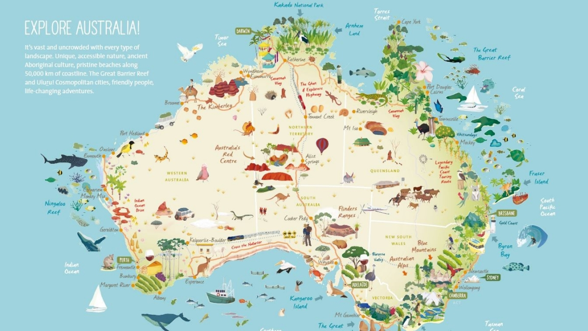 Young Australia Map.Australian Lifestyle To Inspire Young French Travellers