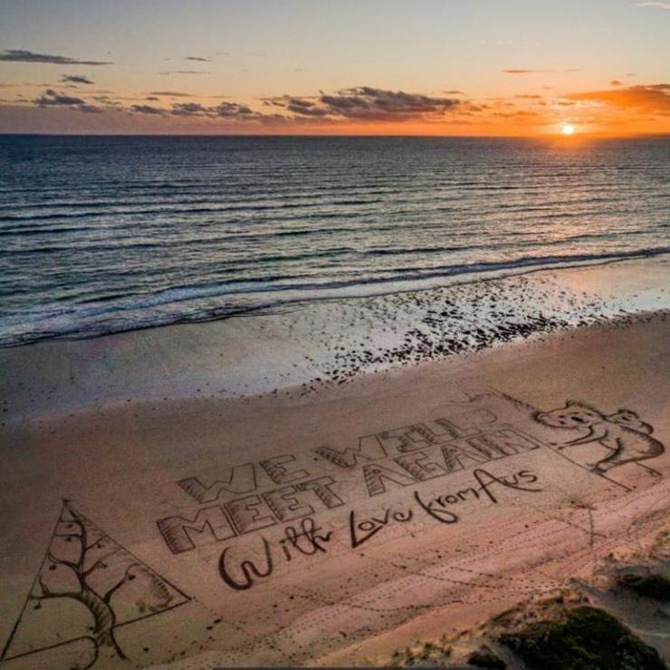 'We will meet again' beach message